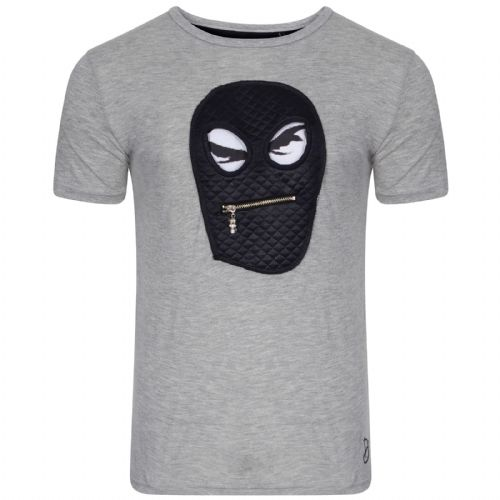 iDenim Designer Grey T Shirt Balaclava Zip Navy Quilt Fabric on Back RRP £30